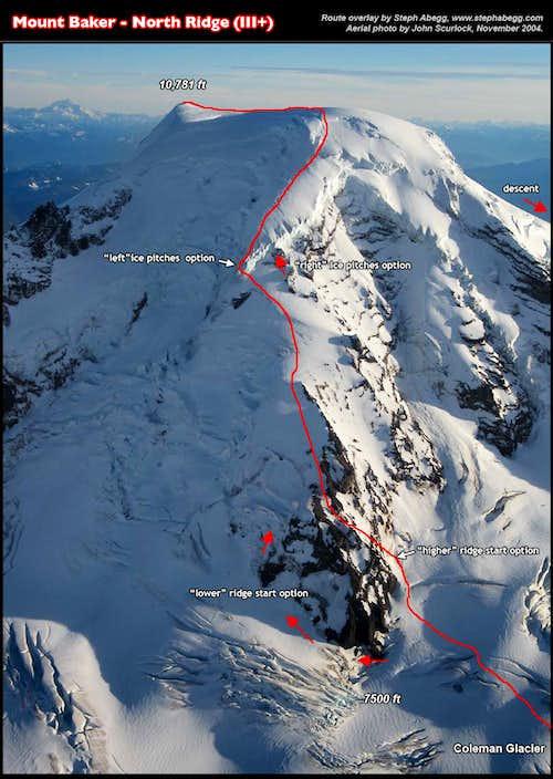 North RIdge of Mount Baker, route overlay