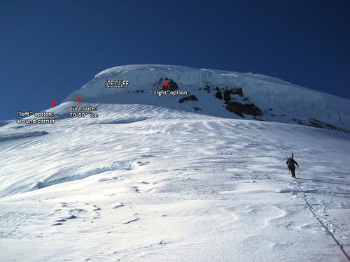 North RIdge of Mount Baker, ice step, route overlay