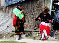 Busy ladies on Quilotoa village