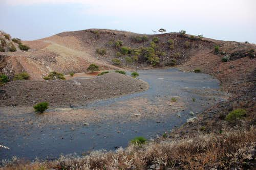 One of the craters with the main caldera.