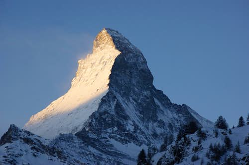 The Matterhorn on a clear winter morning