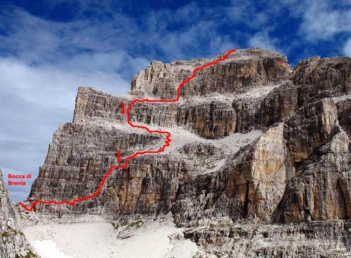 The normal route seen from refuge Pedrotti
