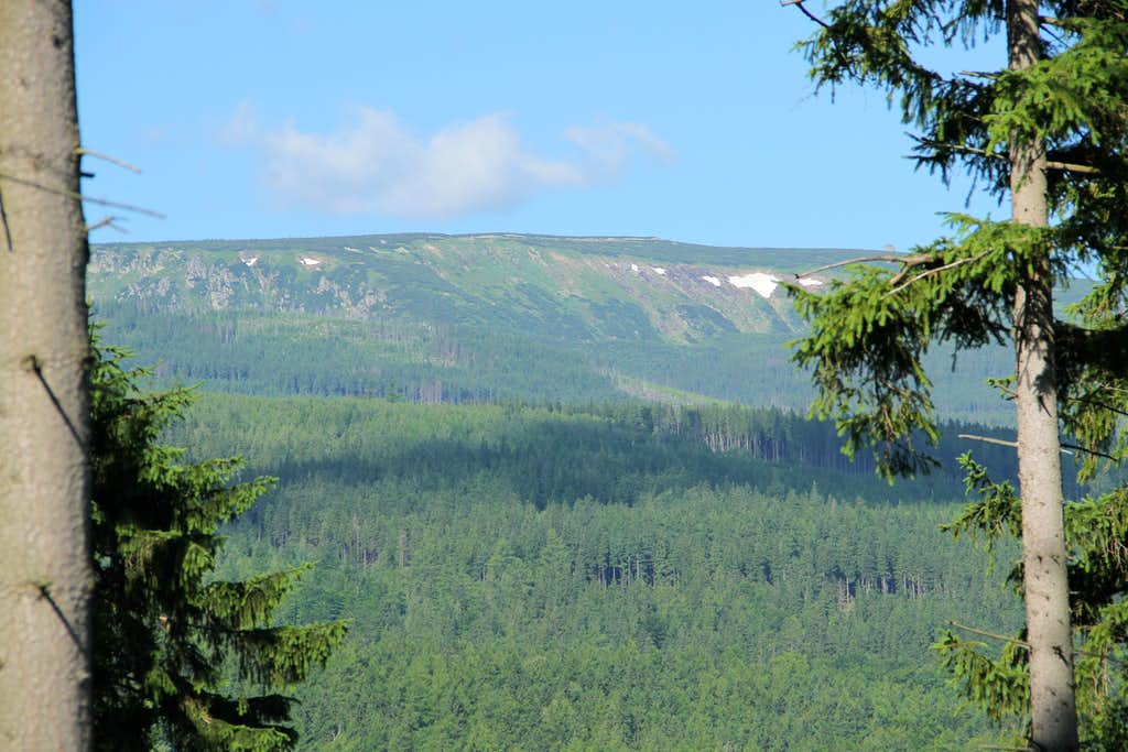 Snowy slopes of the Polish Karkonosze in late June, from Karpacz