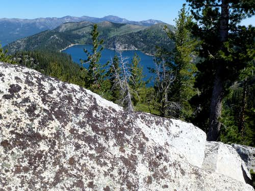 View over the rocks to Marlette Lake and the Northern Carson Range