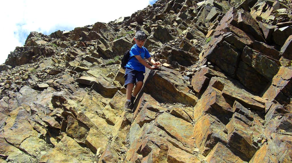 Scrambling down Mt. Superior.