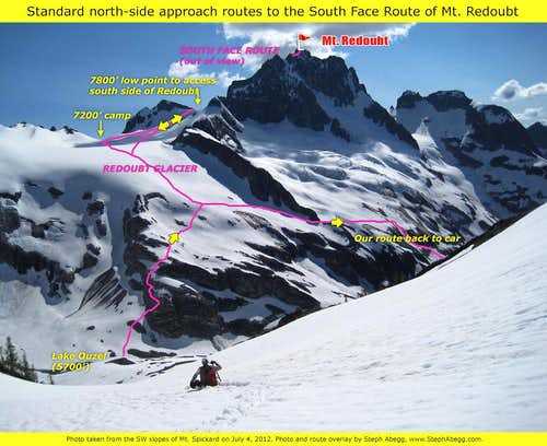 Standard north side approach routes to the south facce of Mt. Redoubt