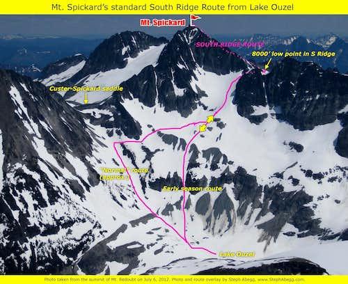 Mt. Spickard's standard South Ridge route from Lake Ouzel