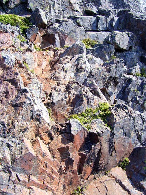 Close up of class 4 climbing on Devils Peak