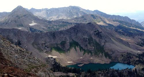 White Pine Lake below White Baldy from Red Baldy Summit