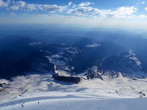 Looking down Mount Rainier