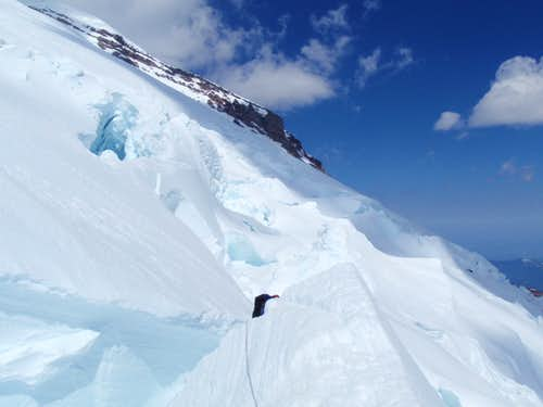 Crossing a serac on Rainier