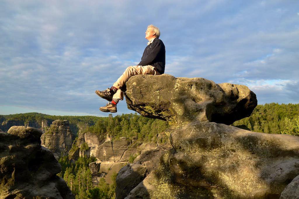 Me sitting on a natural sandstone