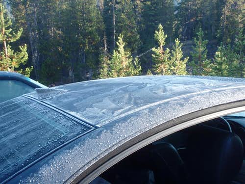 Ice on the car at the trailhead