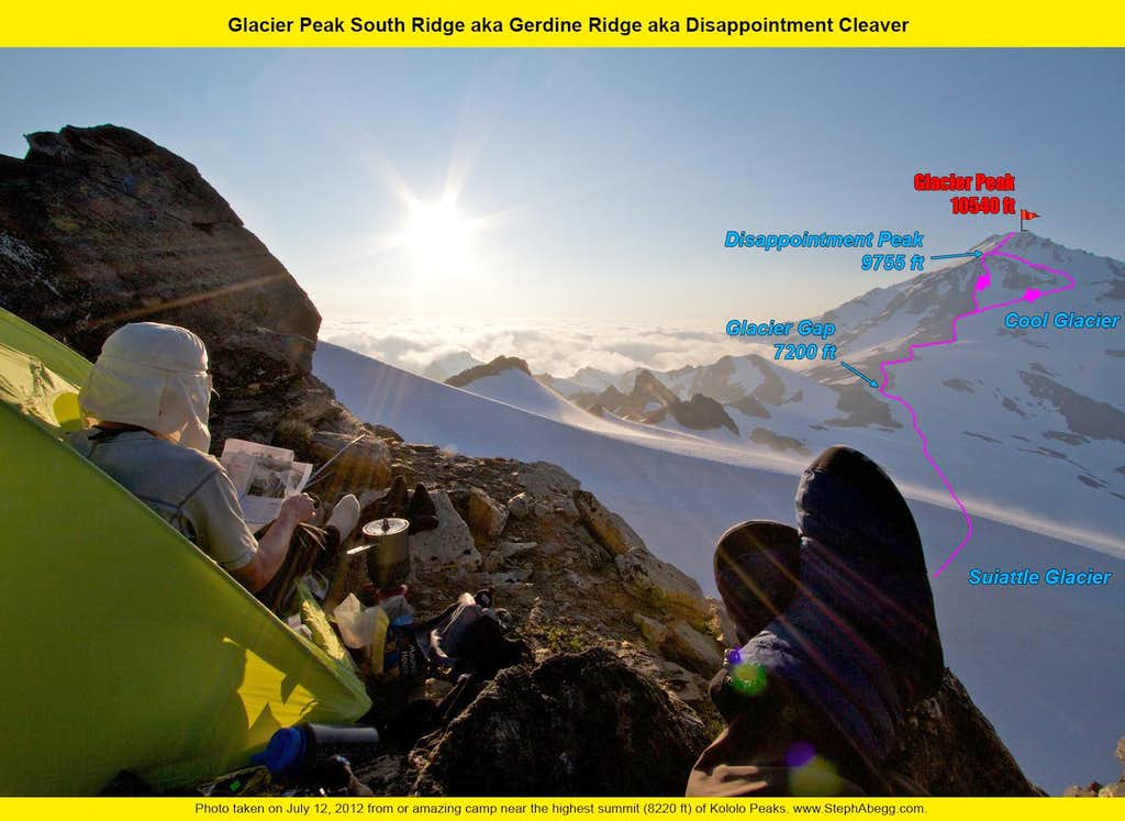 Glacier Peak South Ridge / Gerdine Ridge / Disappointment Cleaver overlay