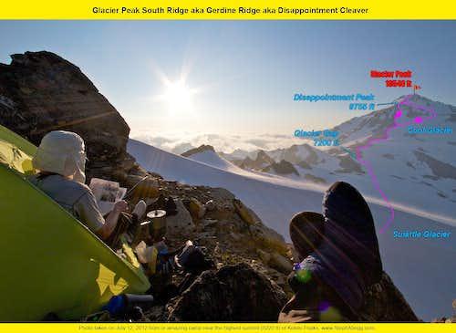 Glacier Peak South Ridge / Gerdine Ridge / Disappointment Cleaver overlay