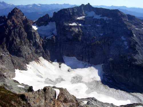 Monte Cristo Peak, Kyes Peak, and Columbia Glacier from Columbia Peak