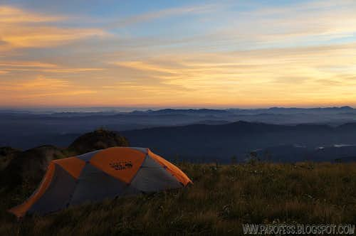 Our tent in sunrise