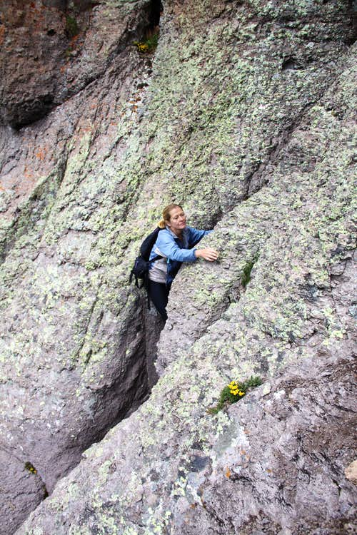 Exposed climbing on Potosi\'s south face