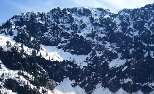 North side of Mt. Pilchuck's east summit (East Knob) from Lake 22