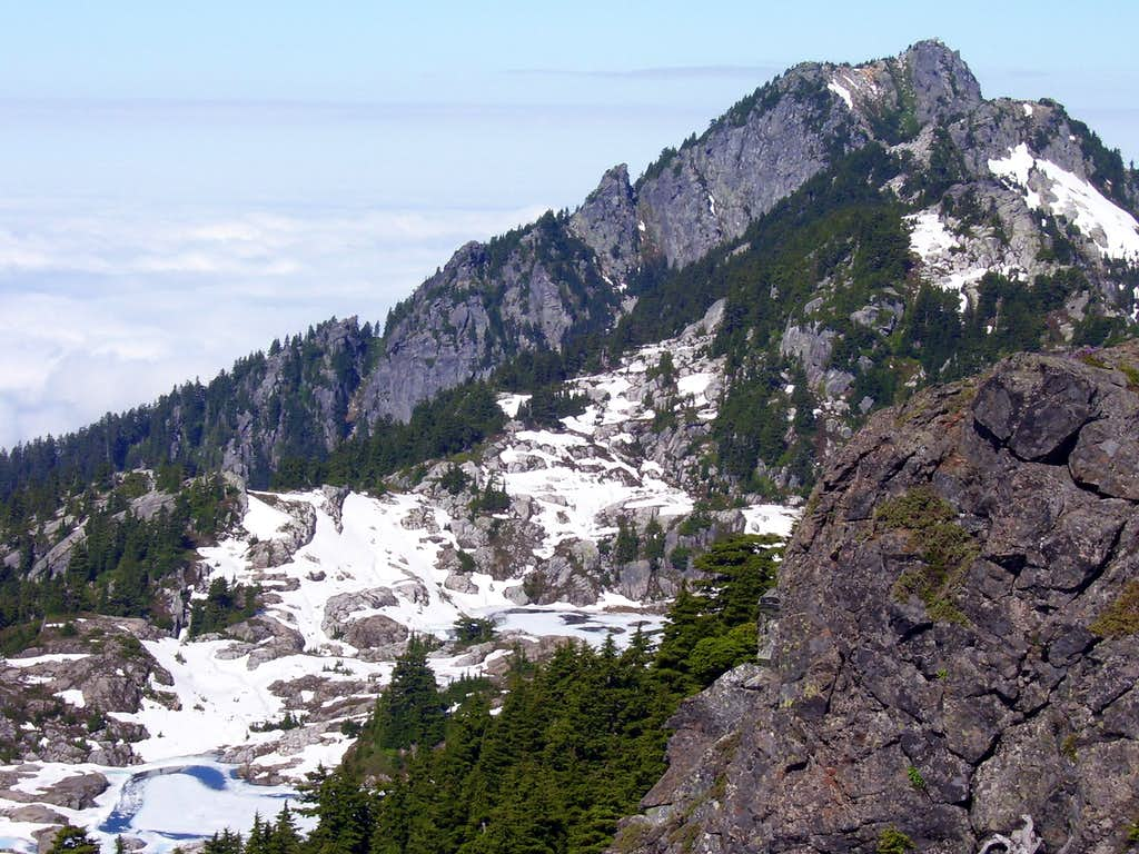 Bathtub Lakes, Mt. Pilchuck west summit, Point 5198, and Point 5074 from the East Knob