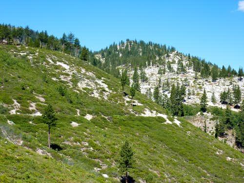 Looking back up towards Peak 8208