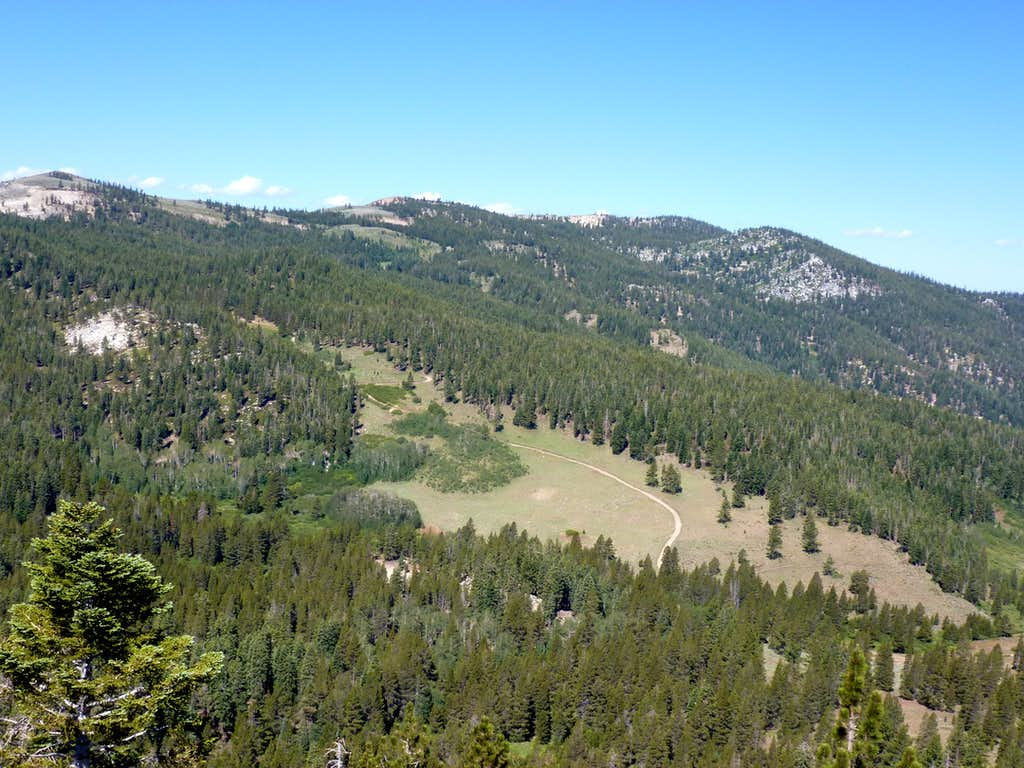 View west from Peak 8208 to Marlette Peak and Herlan Peak