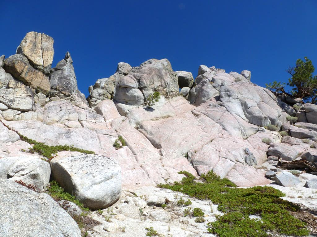 The rock towers and Peak 8205
