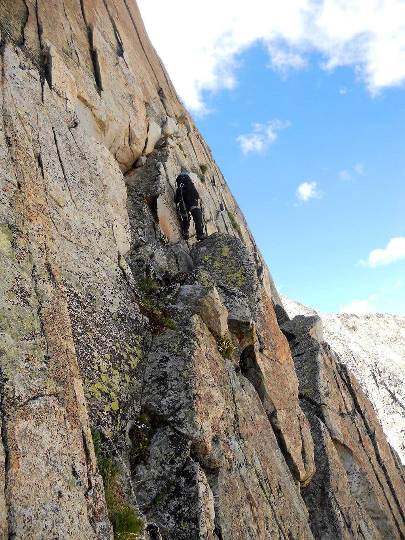 Climbing along the Face