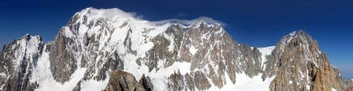 Mont Blanc est side seen from the summit of Tour Ronde