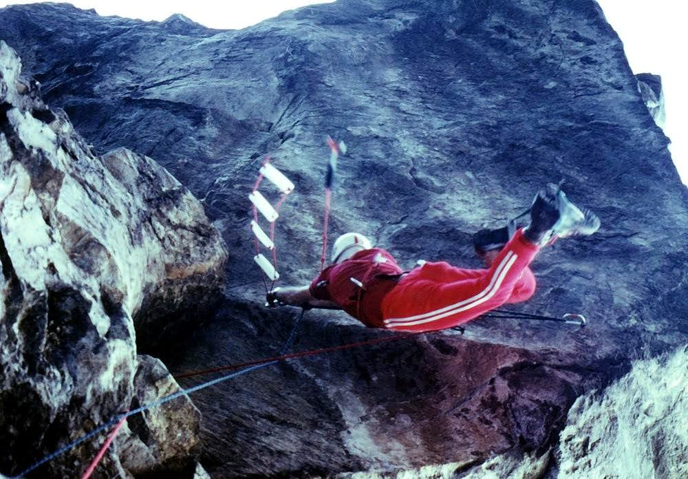 The flight under the Chenaux's great cliff/roof of 40 metres 1978