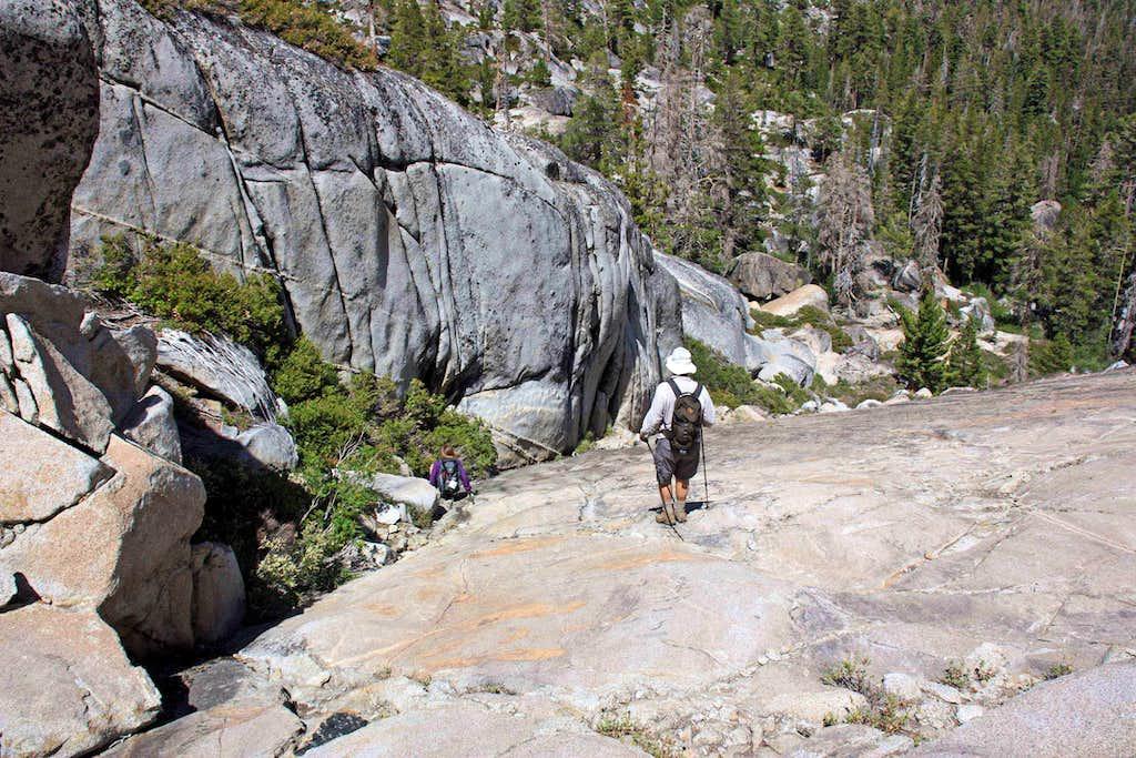 Descending a slab to Azure Lake