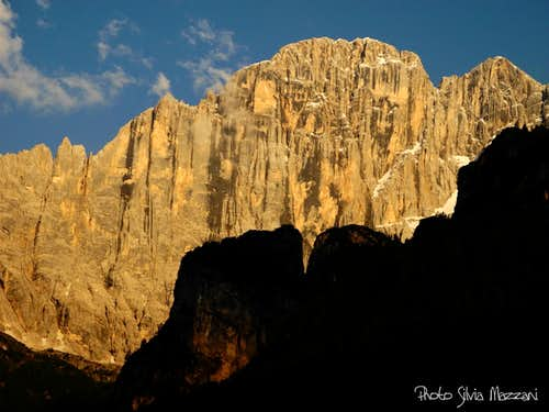 "Last sunrays on the ""Grande Civetta"" NW face"