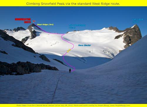 Snowfield Peak route overlay