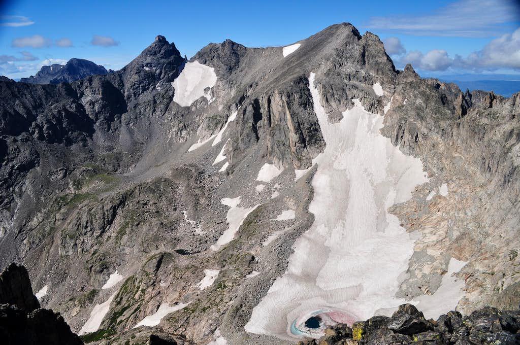 Arapaho Peaks, Navajo Peak, Apache Peak and Isabelle from Shoshoni Peak