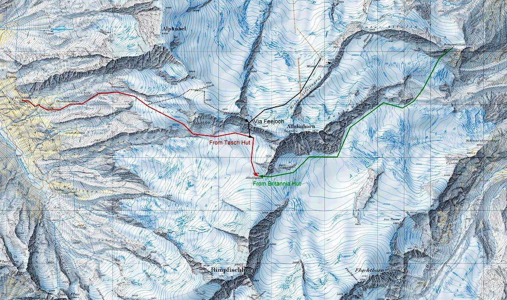 Map route towards Allalinpass