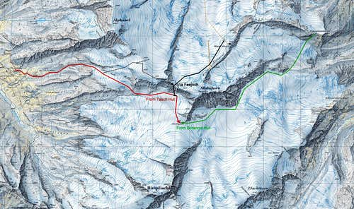 Map route towards Allalinpass