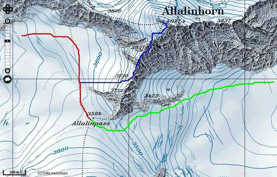 SW ridge Allalinhorn routemap