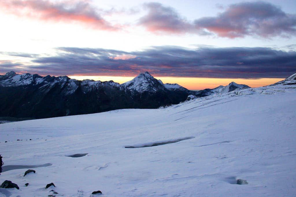 Sunrise on Allalin glacier
