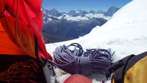 View from tent on Chopicalqui High Camp