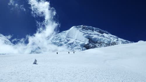 On the glacier to camp 1 on Huascaran