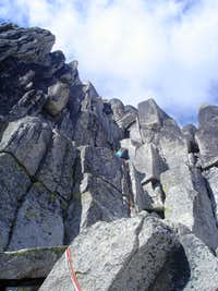 The lower roped climbing section