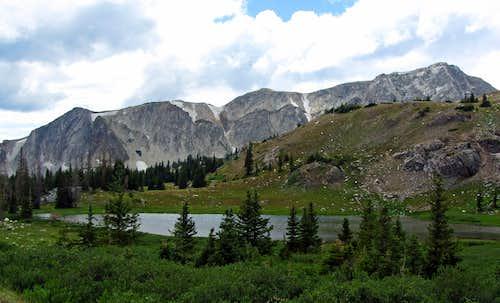 Medicine Bow Mountains over lake