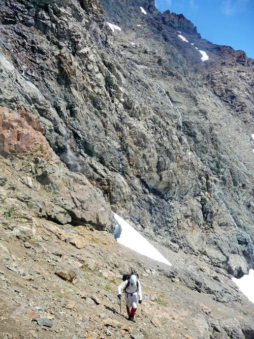 Hiking Above the First Snowfield