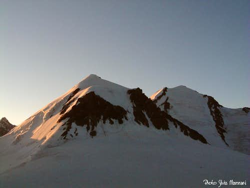 Sunset on Pollux and Castor from Rossi-Volante Bivouac