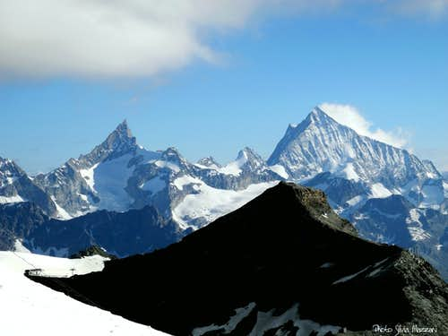 A detail of Zinalrothorn and Weisshorn from Breithorn Plateau