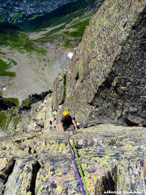 Index SE ridge first pitch corner, Aiguilles Rouges