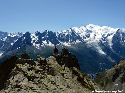 Aiguilles de Chamonix and Mont Blanc from Aiguille de l'Index