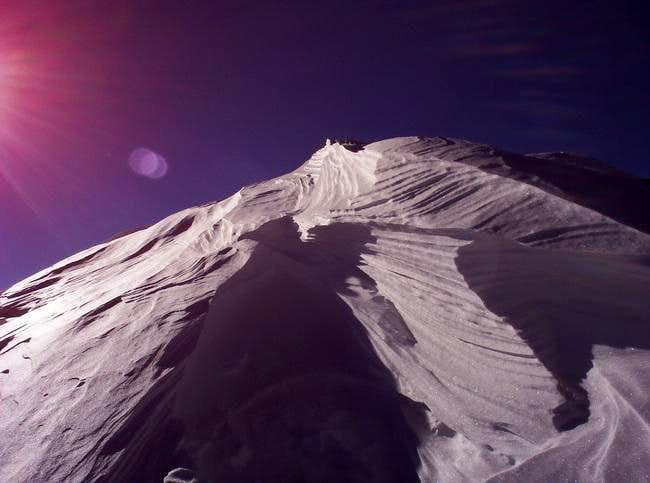 A cornice near the summit of...