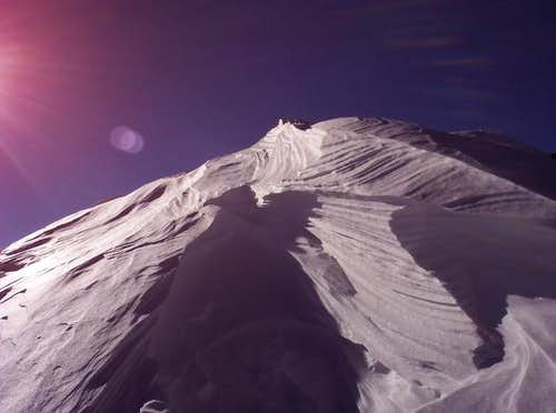 A cornice near the summit of...