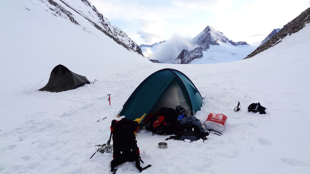 Our camp on the  Oberaar saddle